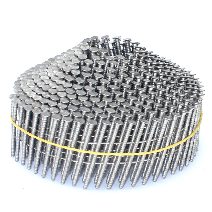 15 Degree Stainless Steel Screw Shank Coil Nails 1-1/4 In. X 0.090 In.